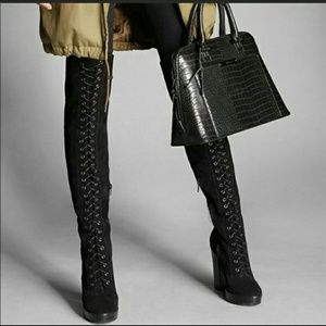 Aldo Lace Up Over the Knee Boots
